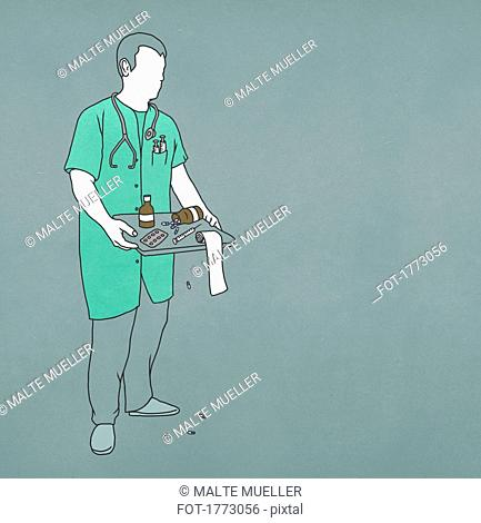 Doctor carrying tray, spilling medicine