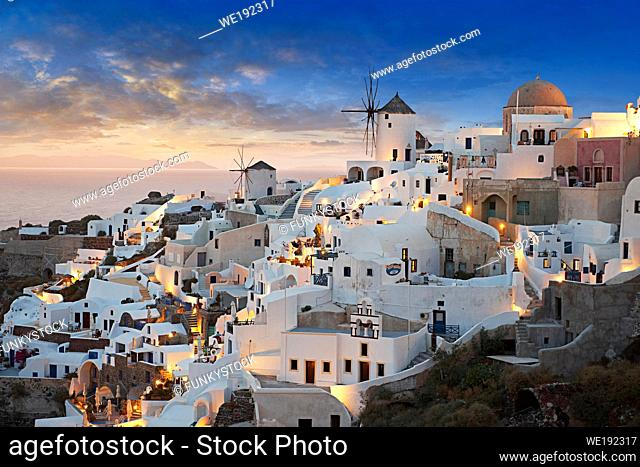 Sunset over Oia (ia), Cyclades Island of Thira, Santorini, Greece. . . The settlement of Oia had been mentioned in various travel reports before the beginning...