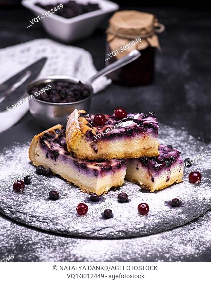 pieces of pie from cottage cheese and blueberries on a black background sprinkled with powdered sugar