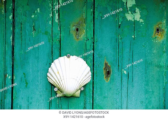 Scallop shell seashell nailed to old wooden green door in island fishing village near beach coast
