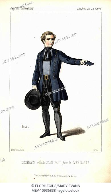 Deshayes in the role of Jean-Paul in La Mendiante at the Theatre de la Gaite. Handcoloured lithograph by Alexandre Lacauchie from Galerie Dramatique: Costumes...