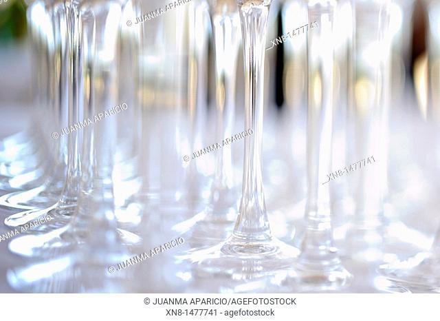 Conceptual image of a set of crystal glasses