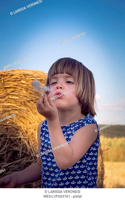 Portrait of little girl in front of a straw bale