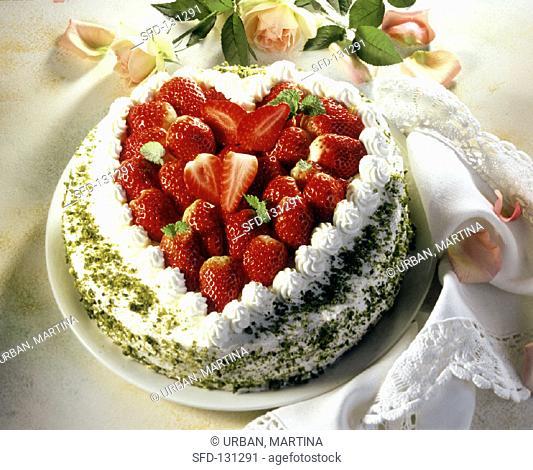 Festive cream gateau a la Furst Pückler with strawberry heart