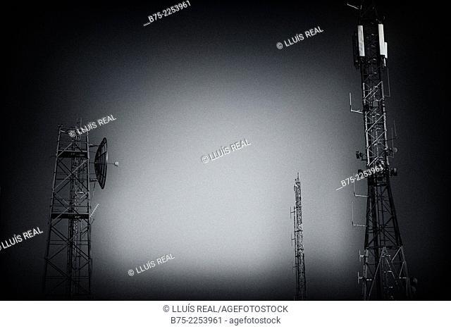 Closeup of communication towers and antennas in Monte Toro, Es Mercadal, Menorca, Balearics, Spain