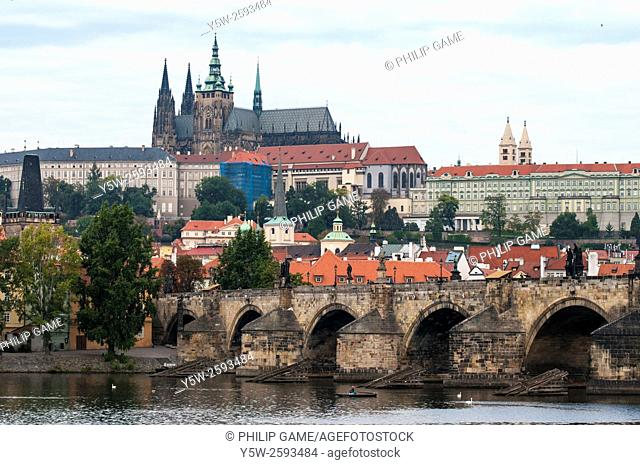Prague Castle (Hradcany) and Charles Bridge (Karluv Most) across the Vltava, Prague