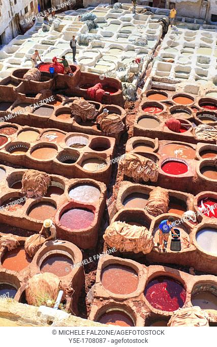 Morocco, Fes, Medina Old Town, Traditional old tanneries