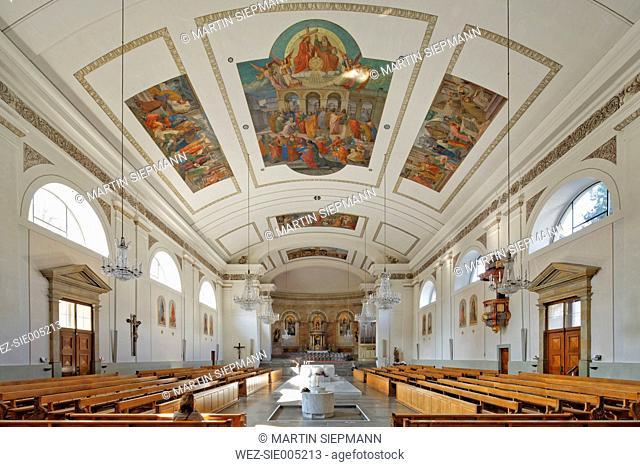 Austria, Vorarlberg, Dornbirn, interior view of St Martin's Church