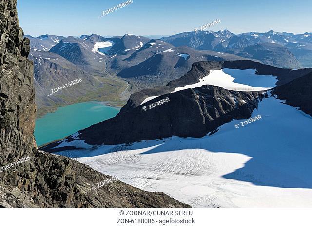 glacier with Lake Bierikjaure, Sarek NP, Sweden