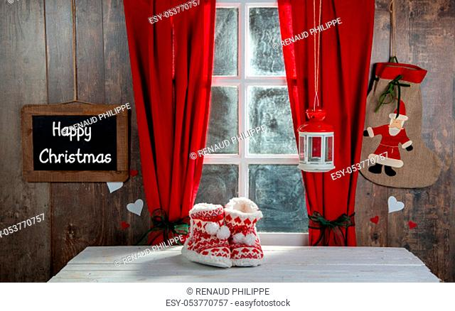 a Merry Christmas concept greeting postcard with slipper shoes