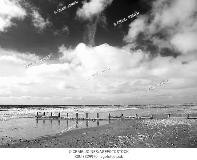 In infrared image of Bracklesham Bay and the beach at East Wittering on the West Sussex coast, England