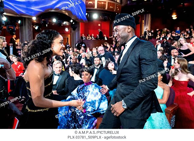 Tessa Thompson and Oscar®-winner Mahershala Ali talk during the live ABC Telecast of The 91st Oscars® at the Dolby® Theatre in Hollywood, CA on Sunday