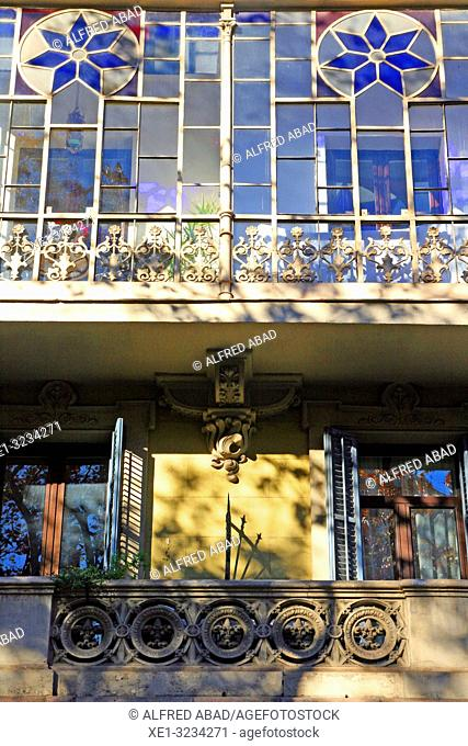 grandstand and balcony in modernist building of Gran Via de Les Corts Catalanes, Barcelona, Catalonia, Spain