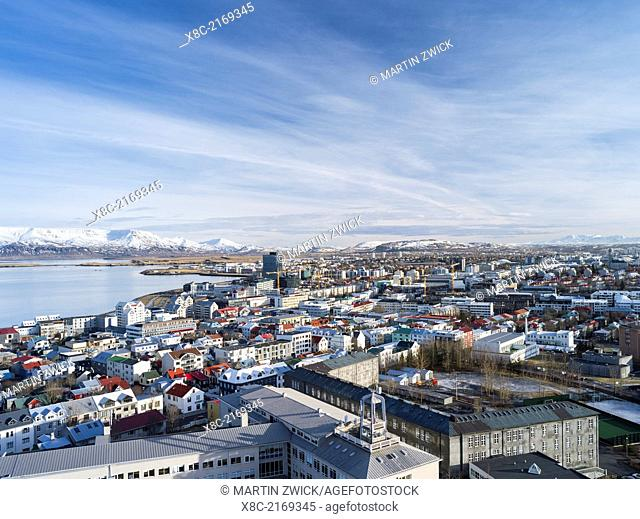 Reykjavik the capital of Iceland seen from above. europe, northern europe, iceland, February