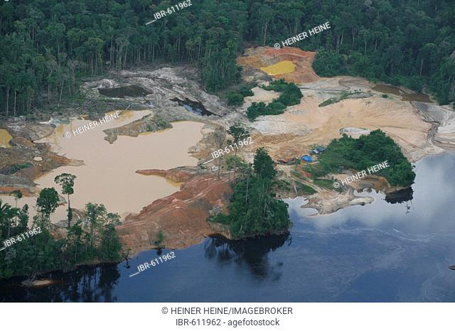 Aerial shot, mining in the rainforest, Guyana, South America