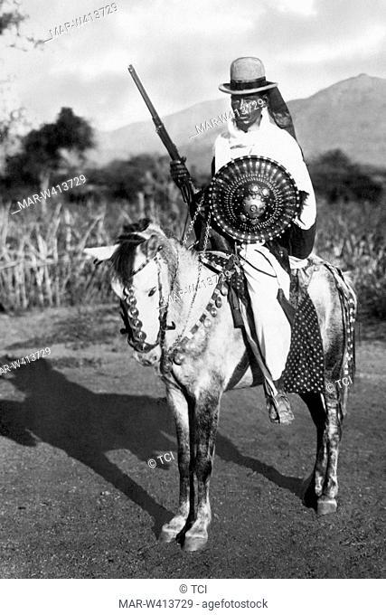 Africa, Ethiopia, Abyssinian warrior, 1930-40