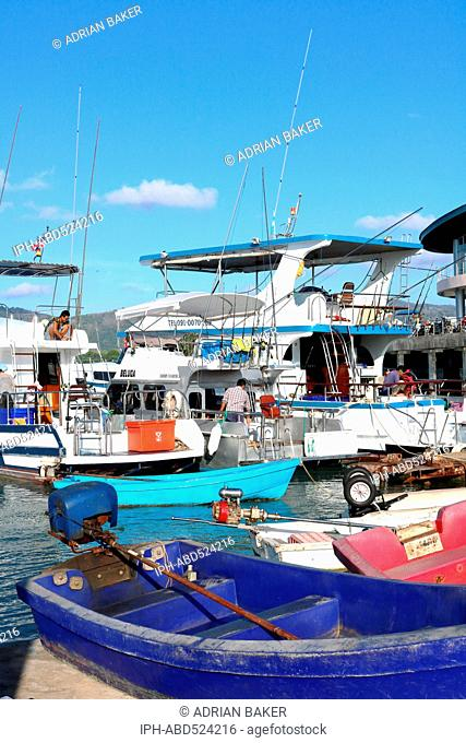 Thailand Phuket Chalong Dive boats at Chalong pier