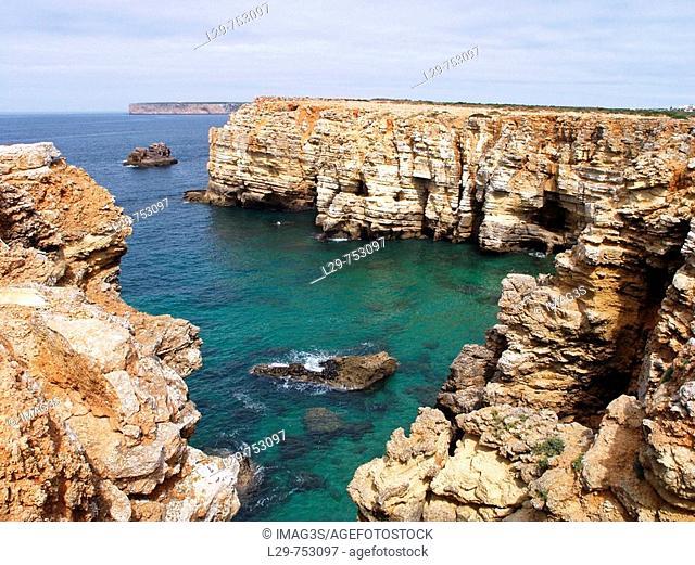 Cape St. Vincent (Cabo de São Vicente) cliffs, Sagres, Algarve Province, Portugal