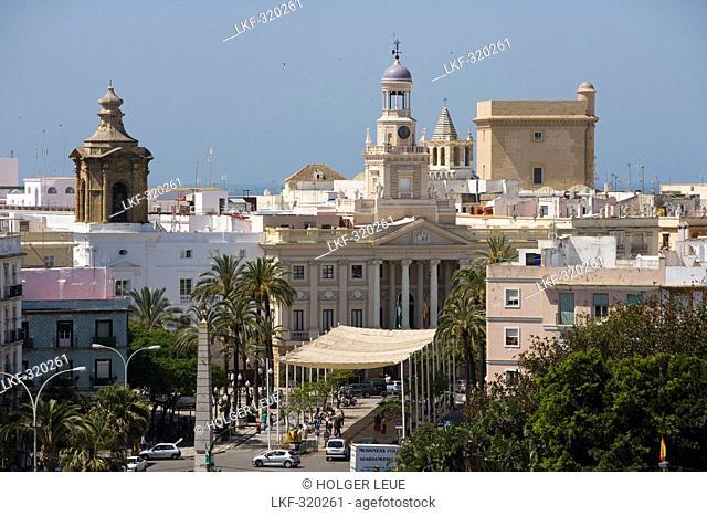 Ayuntamiento city hall in Plaza San Juan de Dios, Cadiz, Andalucia, Spain, Europe