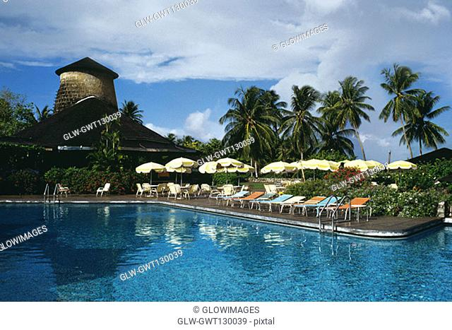 View of a clear swimming pool at a resort, Tobago, Caribbean