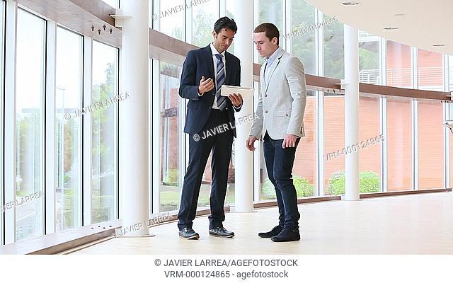 Executives with tablet, Congress building, Business, San Sebastian Technology Park, Donostia, San Sebastian, Gipuzkoa, Basque Country, Spain