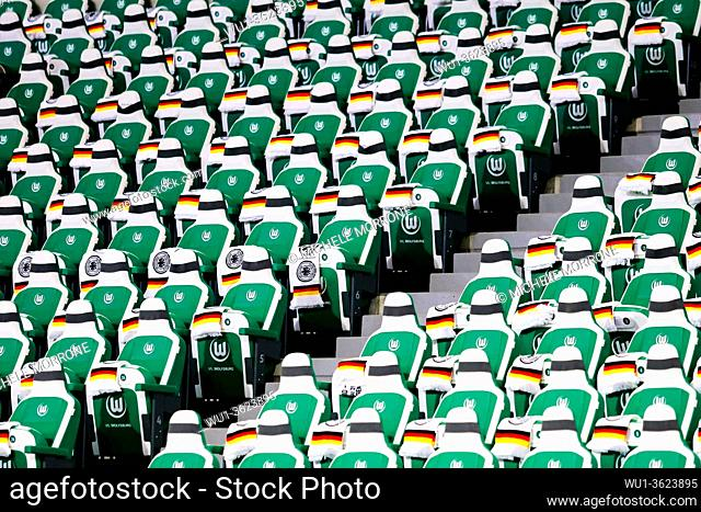 Wolfsburg, Germany, March 20, 2019: grandstand seats in the Volkswagen Arena in Wolfsburg before the international soccer game between Germany and Serbia
