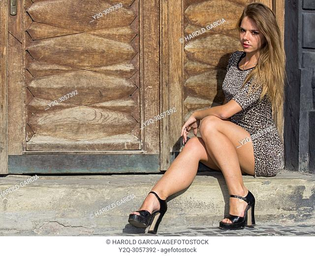 Sexy and elegant Ukrainian woman wearing a leopard skin print dress posing seated and reclining to one side in front of a large wooden door for a photographic...