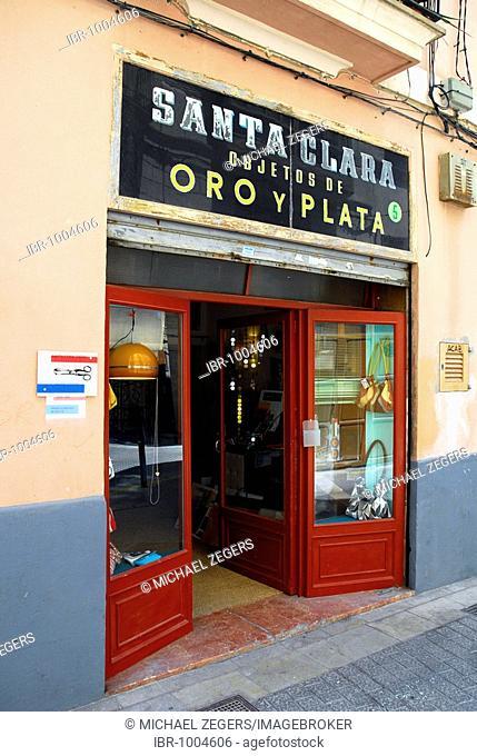 Santa Clara, entrance to a shop in the historic city centre, Ciutat Antiga, objetos de oro y plata, gold and silver items, Palma de Mallorca, Majorca