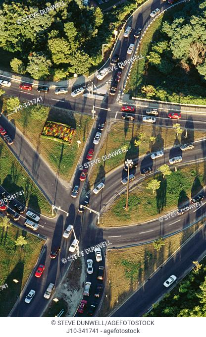 Traffic intersection. Aerial view. Arlington. Massachusetts. USA