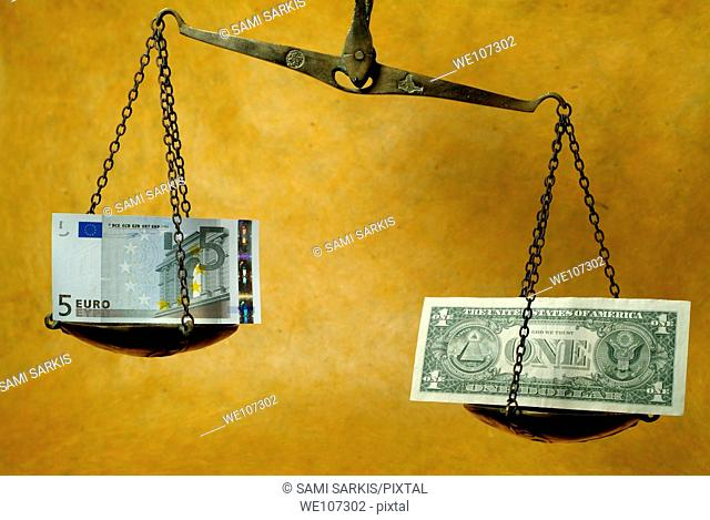 Scale weighing a five euro banknote and a one dollar banknote