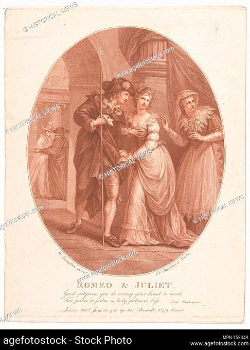 Romeo and Juliet at the Masquerade (Shakespeare, Romeo and Juliet, Act 1, Scene 5). Engraver: Francesco Bartolozzi (Italian