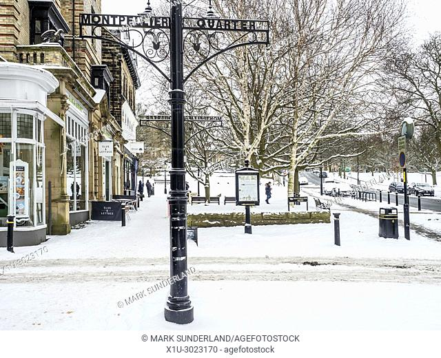 Snow covered streets in the Montpellier Quarter in Winter Harrogate North Yorkshire England