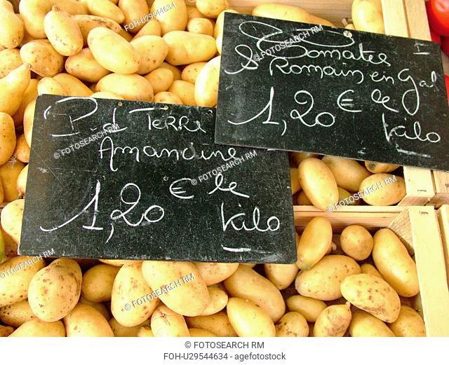 France, Lyon, Rhone-Alpes, Europe, downtown, City Market, potatoes