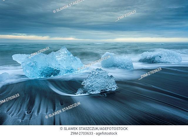 Ice chunks on Jokulsarlon beach, Iceland