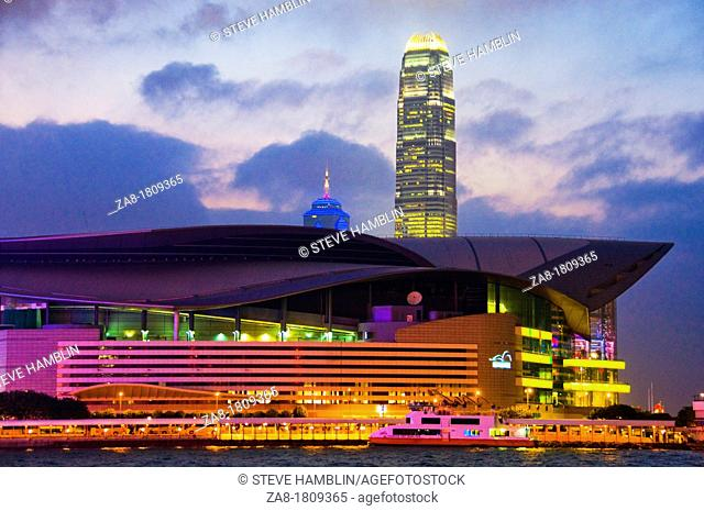 Skyline and harbor view of Hong Kong China Convention and Exhibition Centre at night