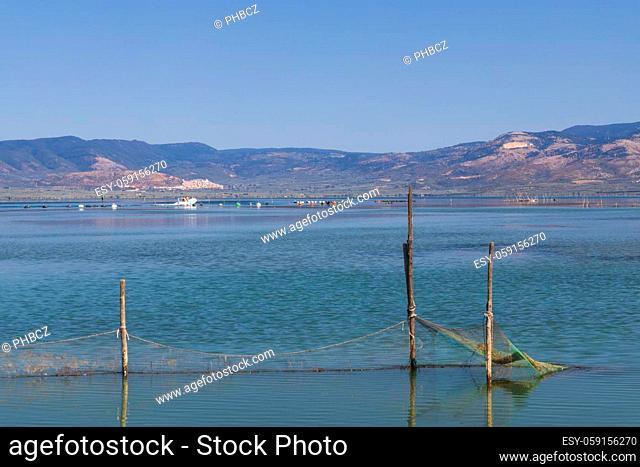 fishing nets in Lago di Varano, NP Gargano, Apulia, Italy