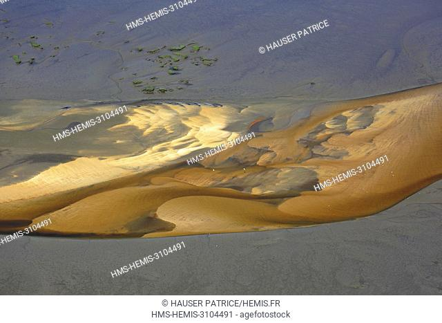 France, Gironde, Bassin d'Arcachon, Cap Ferret, esteys drawn by the channel of the Etangs at low tide (aerial view)