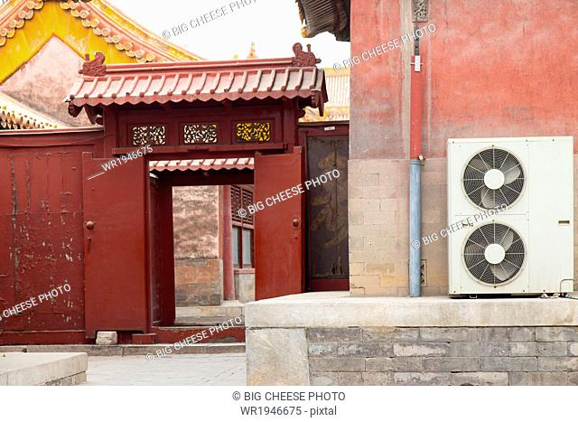Red doorway leading into the Forbidden City, Beijing, China