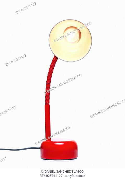 Desk lamp turned on. Clipping path