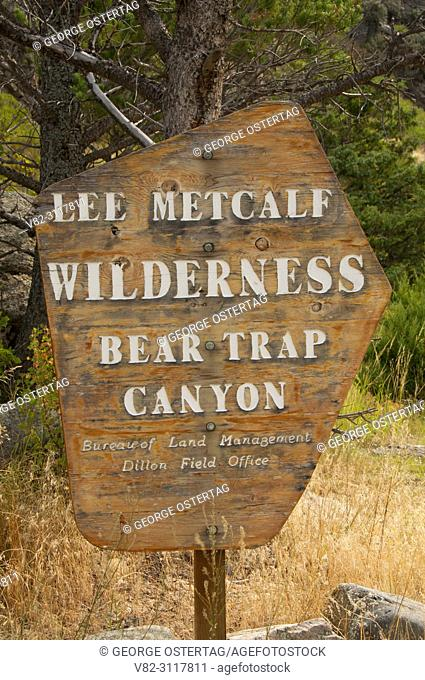 Wilderness sign by Madison River, Lee Metcalf Wilderness Area-Bear Trap Canyon Unit, Bureau of Land Management Dillon District, Montana
