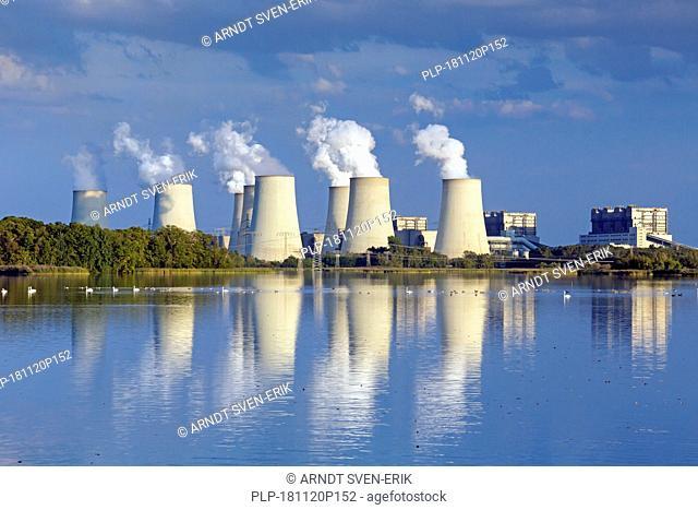 Jänschwalde / Jaenschwalde lignite-fired power station, third-largest brown coal power plant in Germany at Brandenburg, Spree-Neiße