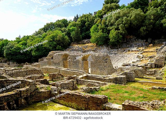 Baths and Roman theater, ancient city Butrint, National Park Butrint, near Saranda, Qark Vlora, Albania