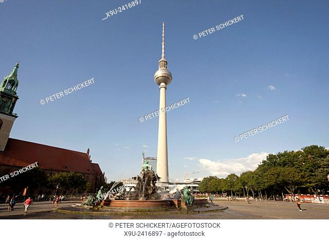 Neptune fountain and Fernsehturm TV Tower, Berlin, Germany, Europe