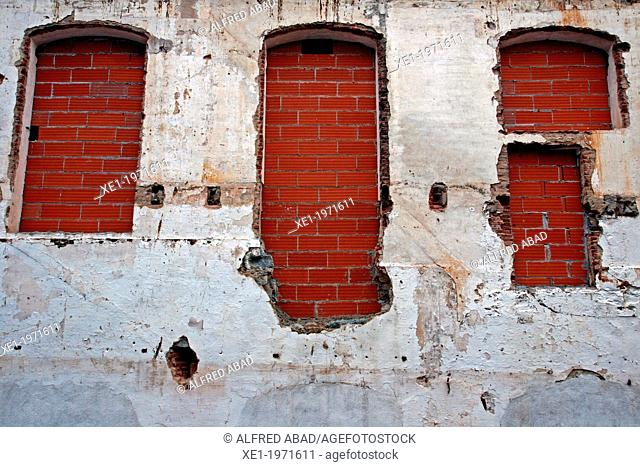 shuttered windows, old industry, Vilassar de Dalt, Catalonia, Spain