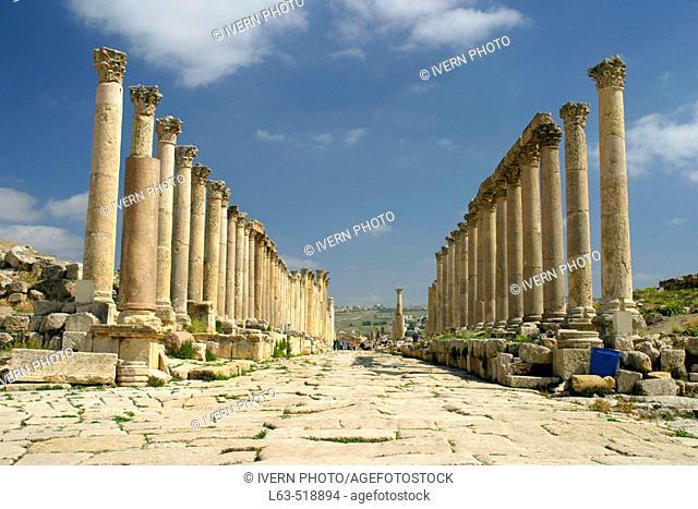 Columns lane, archaeological site of Jerash. Jordan