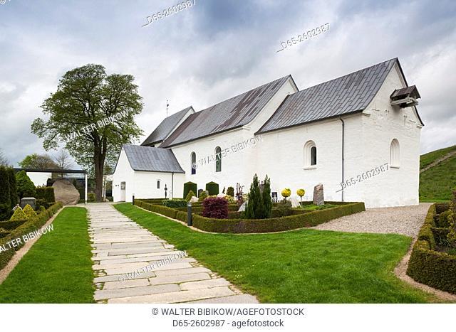 Denmark, Jutland, Jelling, birthplace of Christianity in Denmark, Jelling Kirke Church, built 1100 AD, exterior