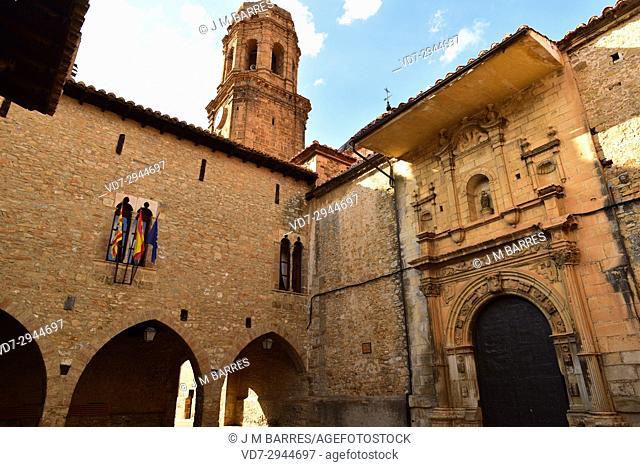 La Iglesuela del Cid, Town Hall and La Purificacion church. Alto Maestrazgo, Teruel province, Aragon, Spain