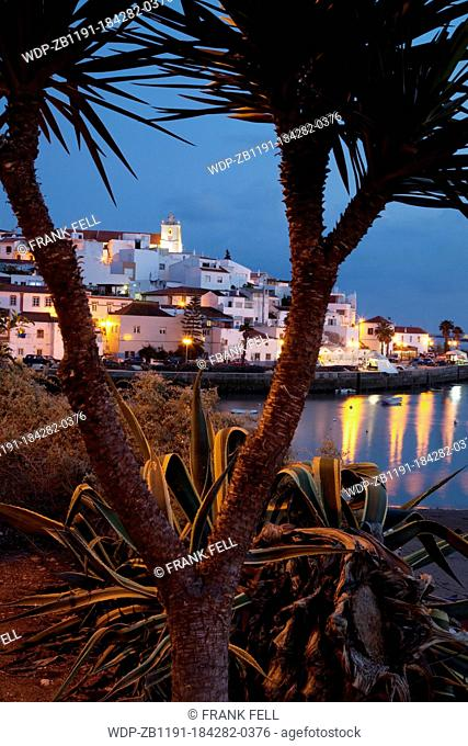 Portugal, Algarve, Ferragudo, Village & Bay at Dusk