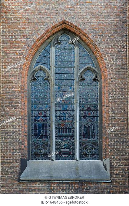 Stained glass window, Sint Amandsberg Beguinage, Unesco World Heritage Site, church, Gent, Belgium, Europe