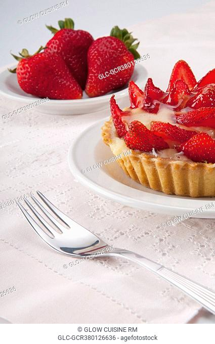 Close-up of strawberry tart